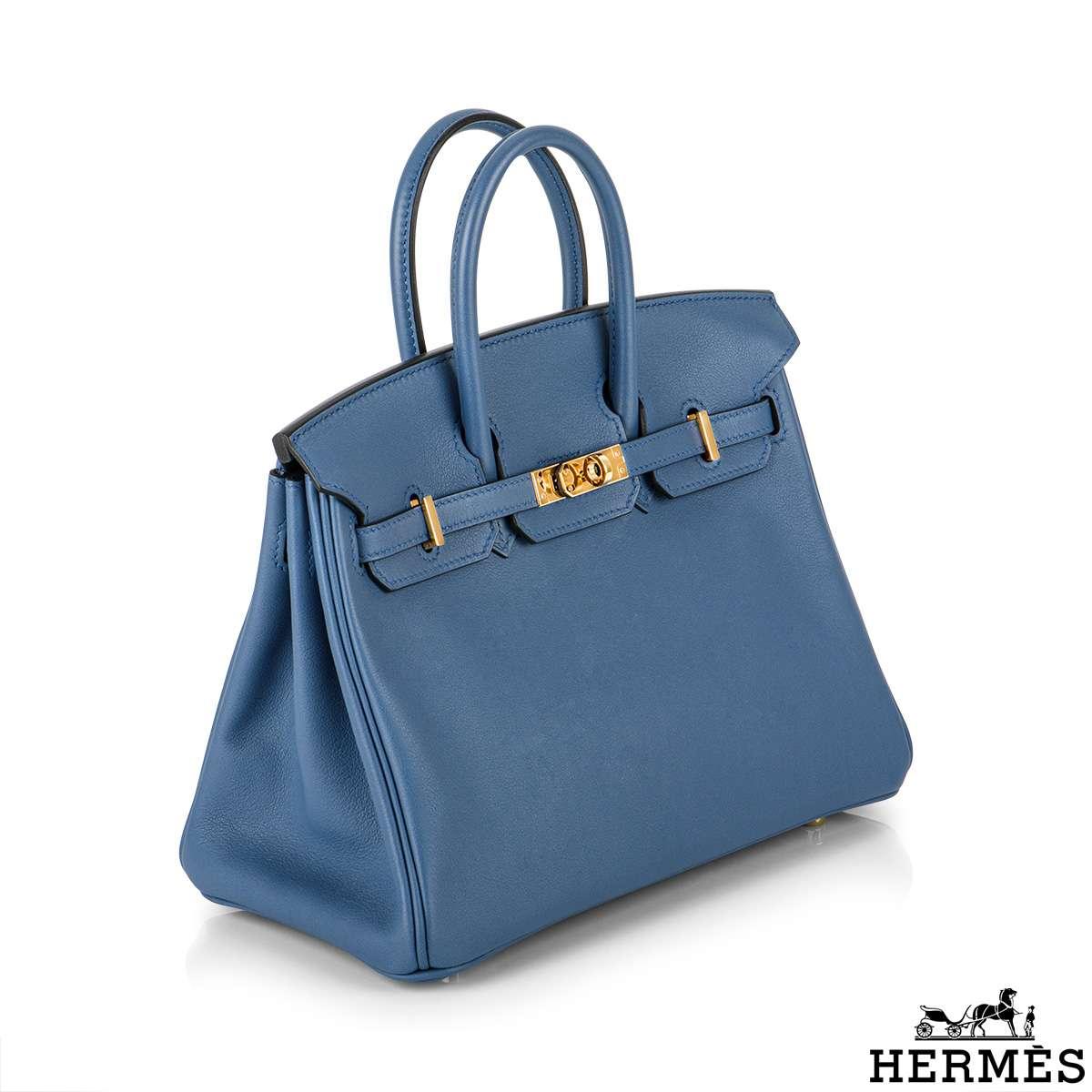 Hermès Birkin 25cm Bleu Paradis GHW Veau Swift Handbag